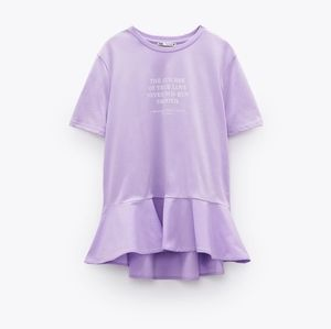 Zara text print ruffled tshirt